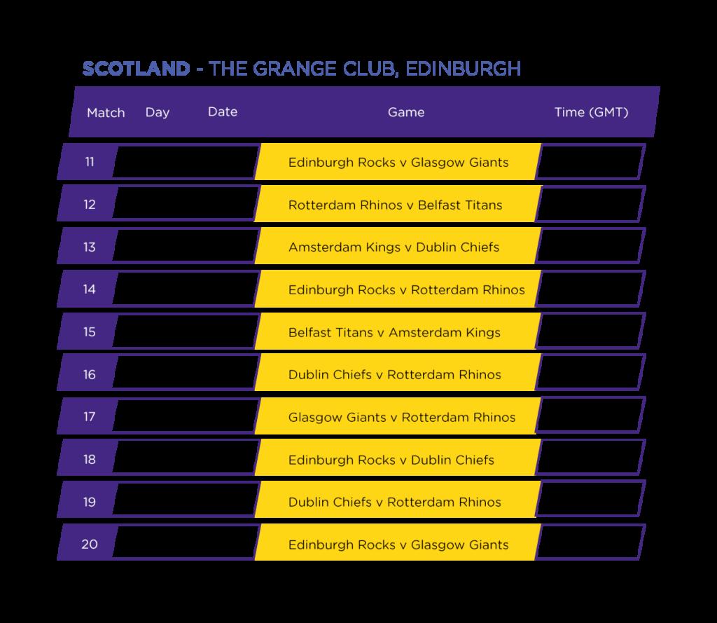 Match Schedule For The Grange Club, Edinburgh