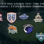 Euro T20 Slam Schedule 2020 | Time Table |  Fixtures | ET20s Schedule Download
