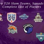 Euro T20 Slam All Teams Squads, Schedule & Complete List of Players