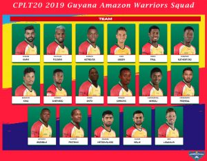 CPLT20 2019 Guyana Amazon Warriors Players List