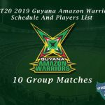 CPLT20 2019 Guyana Amazon Warriors Schedule And Players List