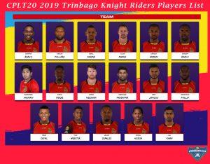 CPLT20 2019 Trinbago Knight Riders Players List