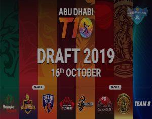 Abu Dhabi T10 Draft 2019