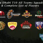 Abu Dhabi T10 All Teams Squads & Complete List of Players