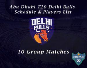 Abu Dhabi T10 Delhi Bulls Schedule & Players List