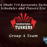 Abu Dhabi T10 Karnataka Tuskers Schedule and Players List