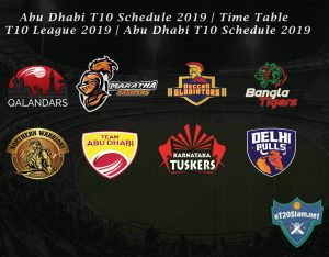 Abu Dhabi T10 Schedule 2019 - Time Table - T10 League 2019 - Abu Dhabi T10 Schedule 2019 Download