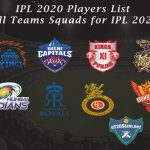 IPL 2020 Player List - All Teams Squad for IPL 2020