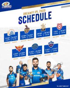 Dream 11 Mumbai Indians Schedule Download