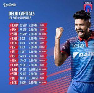 Dream11 Delhi Capitals Schedule Download