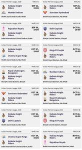 Dream11 Kolkata Knight Riders Schedule Download