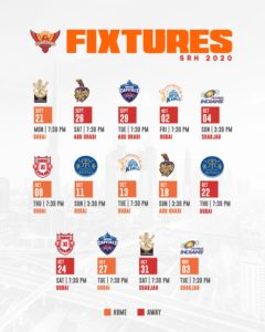 Dream11 Sunrisers Hyderabad Schedule Download