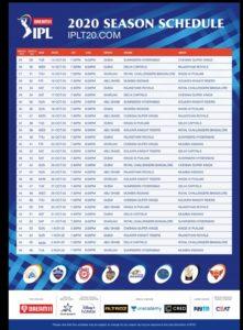 dream11 ipl 2020 new schedule image
