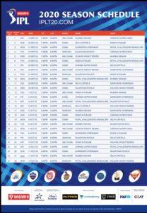 dream11 ipl 2020 schedule image download