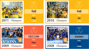 IPL winners list from 2008 to 2011