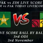 PAK vs ZIM LIVE SCORE, 3rd ODI 2020, Live Match PAK vs ZIM Today