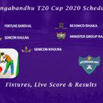 Bangabandhu T20 Cup 2020 Schedule - Fixtures, Live Score & Results