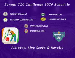 Bengal T20 Challenge 2020 Schedule - Fixtures, Live Score & Results