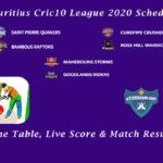 Mauritius Cric10 League 2020 Schedule - Time Table, Live Score & Match Results