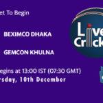 BDH vs GKH Live Score, Bangabandhu T20 Cup, BDH vs GKH Scorecard Today, BDH vs GKH Lineup