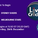SYS vs STA Live Score, Big Bash League, SYS vs STA Scorecard Today, SYS vs STA Lineup
