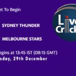 SYT vs STA Live Score, Big Bash League, SYT vs STA Scorecard Today, SYT vs STA Lineup