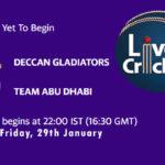 DG vs TAD Live Score, Abu Dhabi T10 League, DG vs TAD Scorecard Today Match, Playing XI, Pitch Report