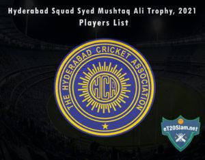 Hyderabad Squad Syed Mushtaq Ali Trophy, 2021 Players List
