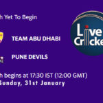 TAD vs PD Live Score, Abu Dhabi T10 League, TAD vs PD Scorecard Today Match, Playing XI, Pitch Report