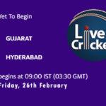 GUJ vs HYD Live Score, Vijay Hazare Trophy, 2021, GUJ vs HYD Scorecard Today, GUJ vs HYD Playing XIs