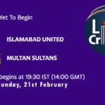 ISL vs MUL Live Score, PSL 2021, ISL vs MUL Scorecard Today Match, Pitch Report, Fantasy XI