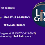MA vs TAD Live Score, Abu Dhabi T10 League, MA vs TAD Scorecard Today Match, Playing XI, Pitch Report