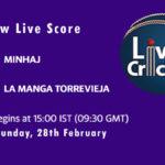 MIN vs LMT Live Score, Spanish Championship, 2021, MIN vs LMT Scorecard Today, MIN vs LMT Playing XIs