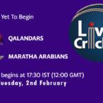 QAL vs MA Live Score, Abu Dhabi T10 League, QAL vs MA Scorecard Today Match, Playing XI, Pitch Report