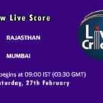 RJS vs MUM Live Score, Vijay Hazare Trophy, 2021, RJS vs MUM Scorecard Today, RJS vs MUM Playing XIs