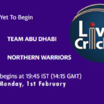 TAD vs NW Live Score, Abu Dhabi T10 League, TAD vs NW Scorecard Today Match, Playing XI, Pitch Report