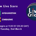 AFG vs ZIM Live Score, 1st Test, AFG vs ZIM Scorecard Today, AFG vs ZIM Playing XIs