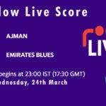 AJM vs EMB Live Score, Emirates D10 Tournament, 2021, AJM vs EMB Scorecard Today