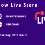 EMB vs ABD Live Score, Emirates D10 Tournament, 2021, EMB vs ABD Scorecard Today