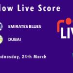 EMB vs DUB Live Score, Emirates D10 Tournament, 2021, EMB vs DUB Scorecard Today