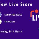 EMB vs SHA Live Score, Emirates D10 Tournament, 2021, EMB vs SHA Scorecard Today