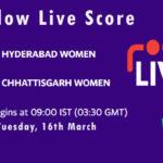 HYD-W vs CHA-W Live Score, Womens Senior One Day Trophy, 2021, HYD-W vs CHA-W Scorecard Today