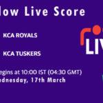 ROY vs TUS Live Score, KCA Presidents Cup T20, 2021, ROY vs TUS Scorecard Today