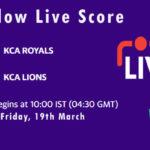 ROY vs LIO Live Score, KCA Presidents Cup T20, 2021, ROY vs LIO Scorecard Today