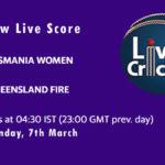 TAS-W vs QUN-W Live Score, Women's National Cricket League, 2021, TAS-W vs QUN-W Dream11 Today Match