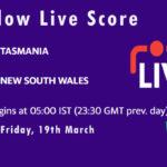 TAS vs NSW Live Score, Sheffield Shield 2021, TAS vs NSW Scorecard Today