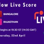 RCB vs RR Live Score, IPL 2021, RCB vs RR Scorecard Today, RCB vs RR Dream11 Team Prediction