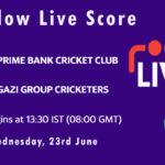 PBCC vs GGC Live Score, Dhaka Premier League 2021, PBCC vs GGC Playing XIs